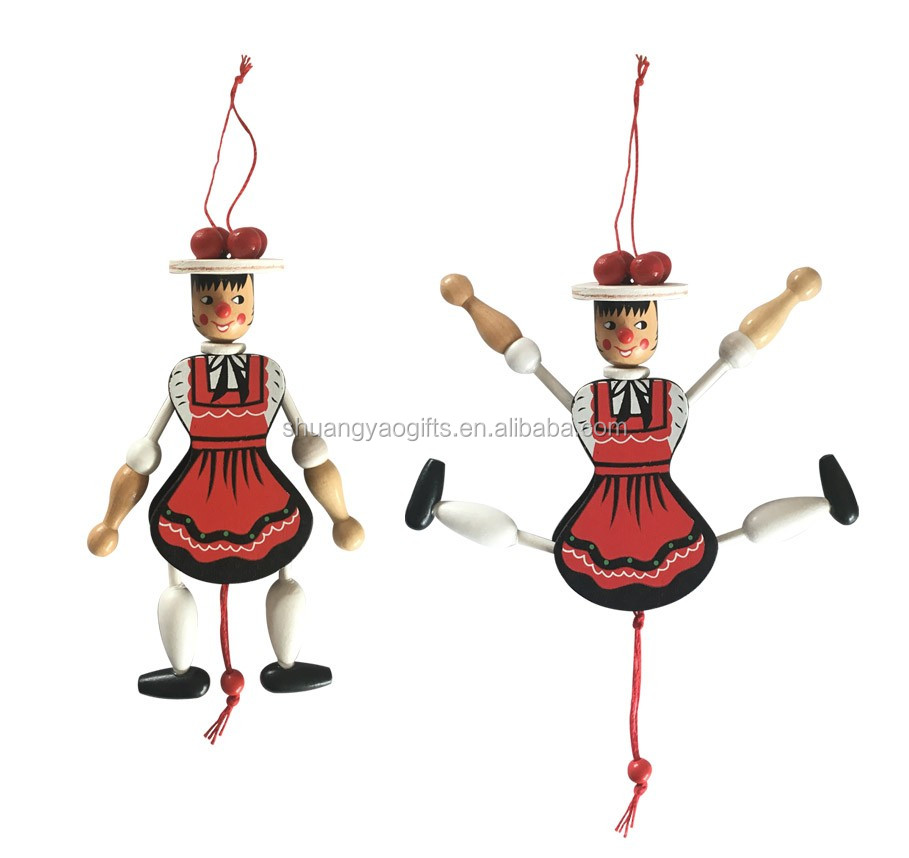 Wooden hot sale custom pull string doll in good quality funny wonden marionette