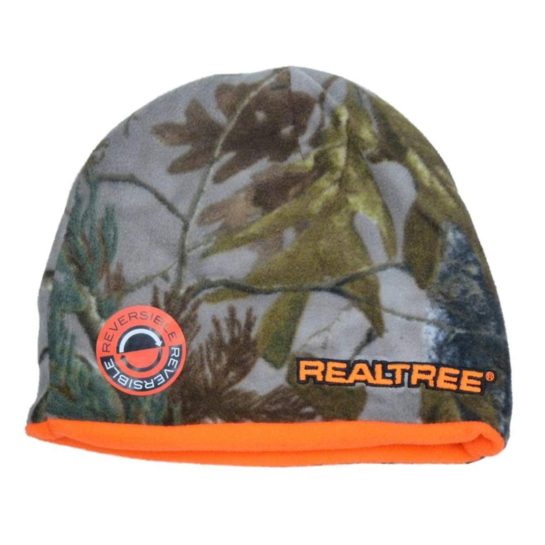 59e660f95a4 Get Quotations · Realtree Mens Reversible Green Cammo Fleece Beanie Orange  Stocking Cap Hat