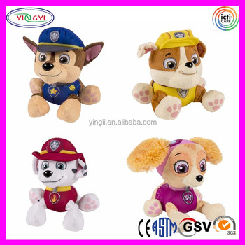 D717 Soft Cartoon Animal Stuffed Police Dog Plush Toys With Clothes
