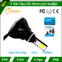 Motorcycle led driving lights new 12v cob 24w 2400lm custom motorcycle led headlight