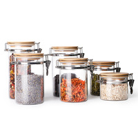 High Quality Eco friendly Airtight Glass Jars Food Container with wood Lid
