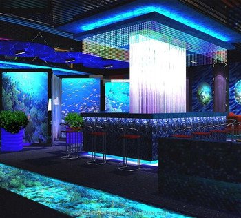 Perfect Ocean Topic Bar Counter Furniture Fancy Blue Illuminated Led Bar Counter