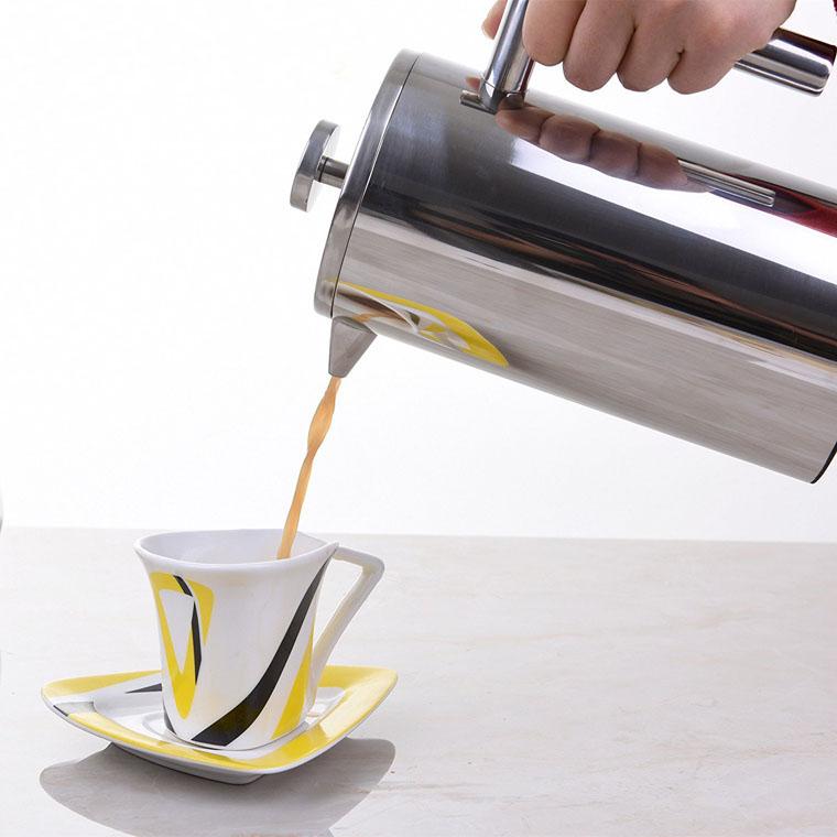 De alta calidad de acero inoxidable de doble pared francés prensa cafetera/350/800/1000/1500 ml