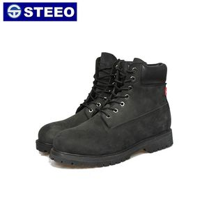 Black tough genuine leather toe protection mining safety boots