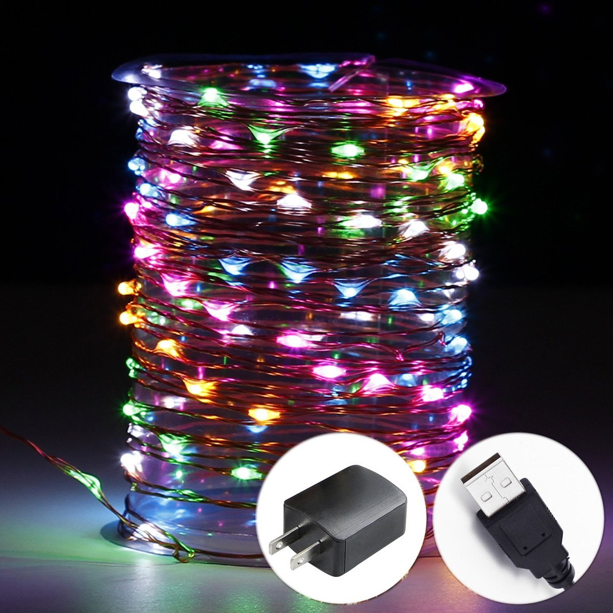 innotree LED String Lights, USB Plug in Fairy Lights, 33 ft 100 LED Copper Lights, Starry Lights, Waterproof Decorative Lights for DIY Bedroom, Garden, Party, Wedding(UL Adapter, Multi Color)