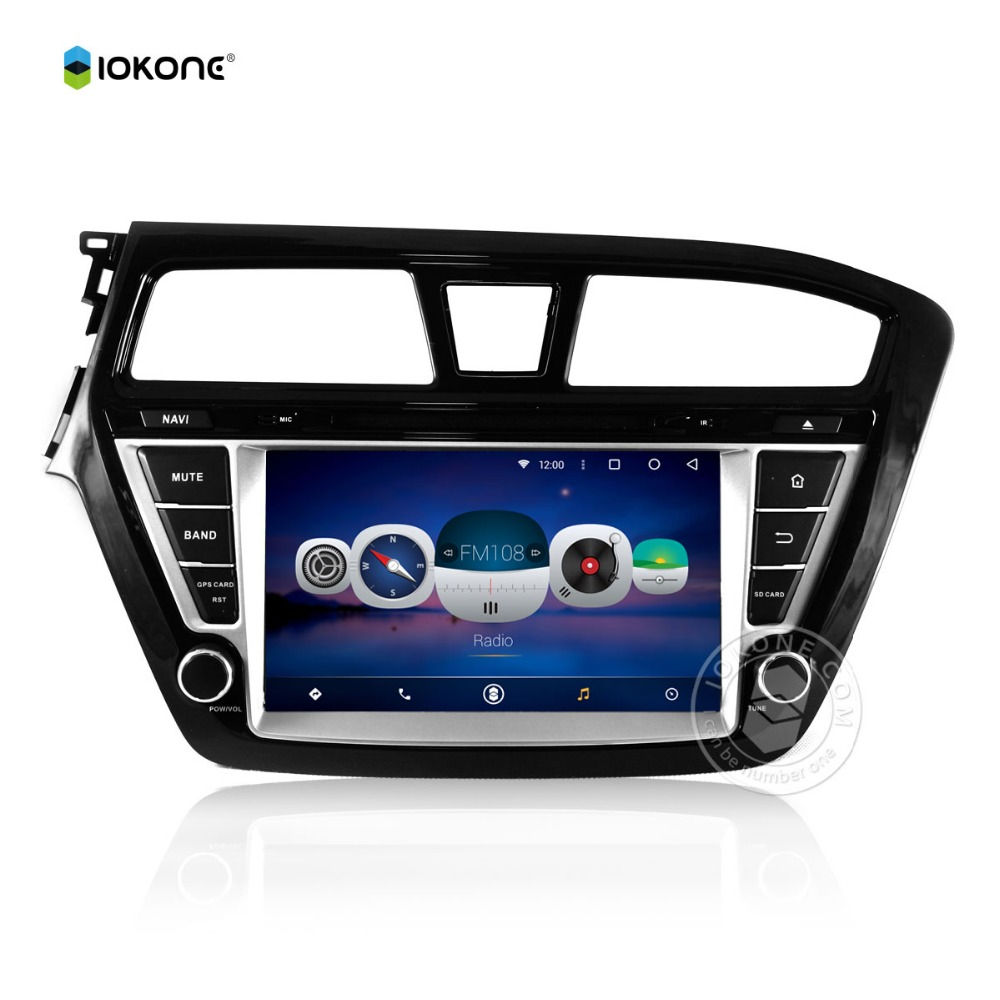 iokone Android 6.0 touch screen 8inch double din dvd players car with bluetooth radio gps reversing camera for HYUNDAI I20