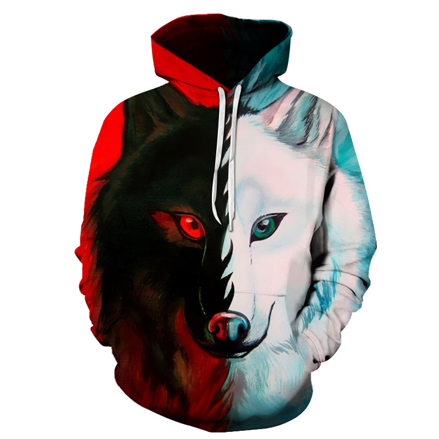 wholesale 3d printed sublimation polyester animal printing mens oem hoodie