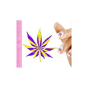 Buy Purple And Yellow Pot Leaf Weed Nail Art Decal Sticker In Cheap