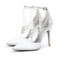 New Design Wholesale Fancy Elegant Rhinestone Pearl Ivory White Fabic Ladies Women Bridal Wedding shoes