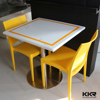 Lotus White Acrylic Resin Solid Surface Table Top