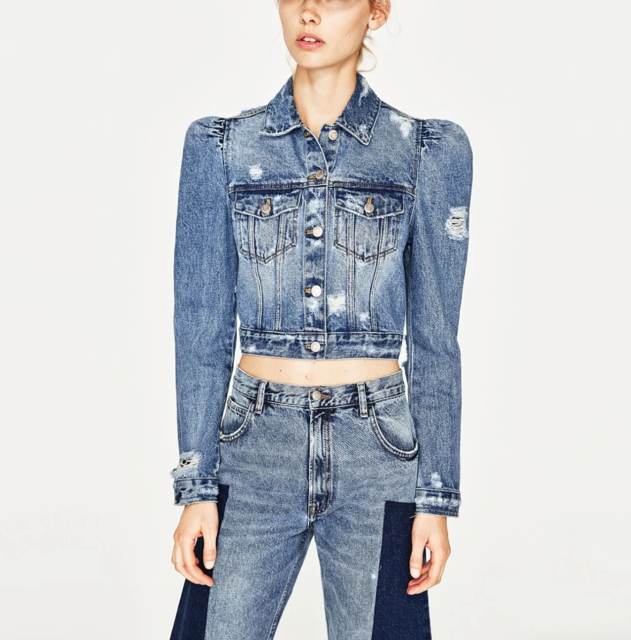 autumn clothing blue short cropped casual ripped puff sleeve denim jacket women