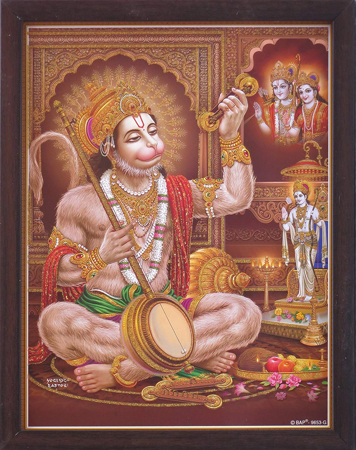 Hindu Lord Hanuman reciting Ram Ram and Playing musical instrument and Lord Ram giving him blessings, Hindu Holy Religious Poster painting with frame for Hindu Religious and Gift purpose.