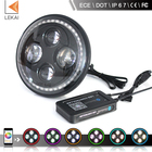 h4 plug and high low beam DOT and ECE, app bluetooth, round 40w jeep wrangler and motorcycle 7inch led headlight with RGB DRL