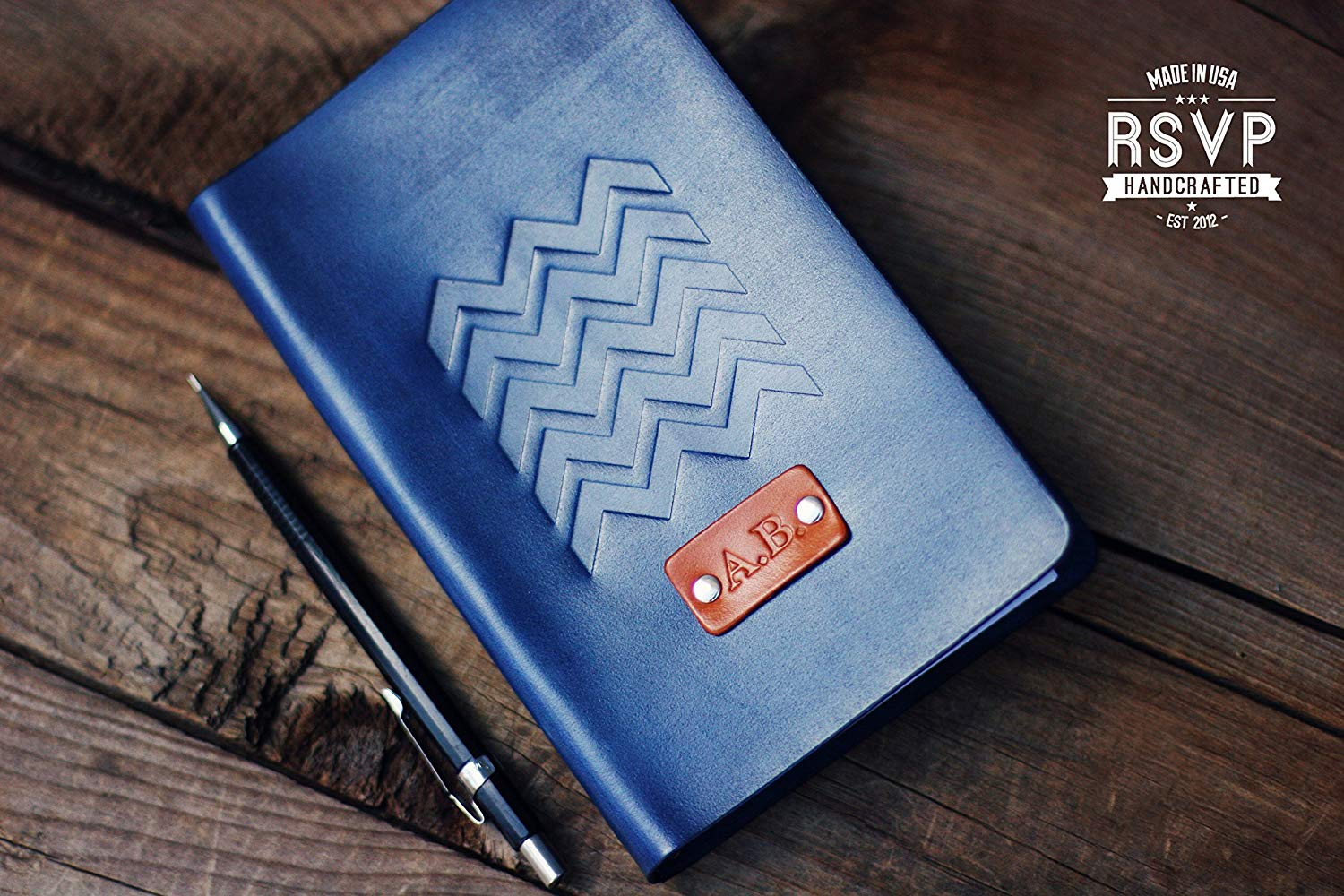 Get Quotations Personalized Leather Journal Notebook Travel Diary Sketchbook Chevron Stamp Custom Name