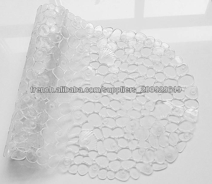 PVC pas cher clair tapis salle de bain rond