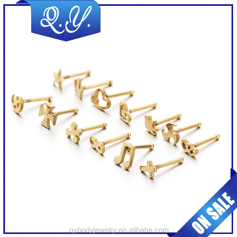 Customized handmade gold plated nose piercing stud ring jewelry