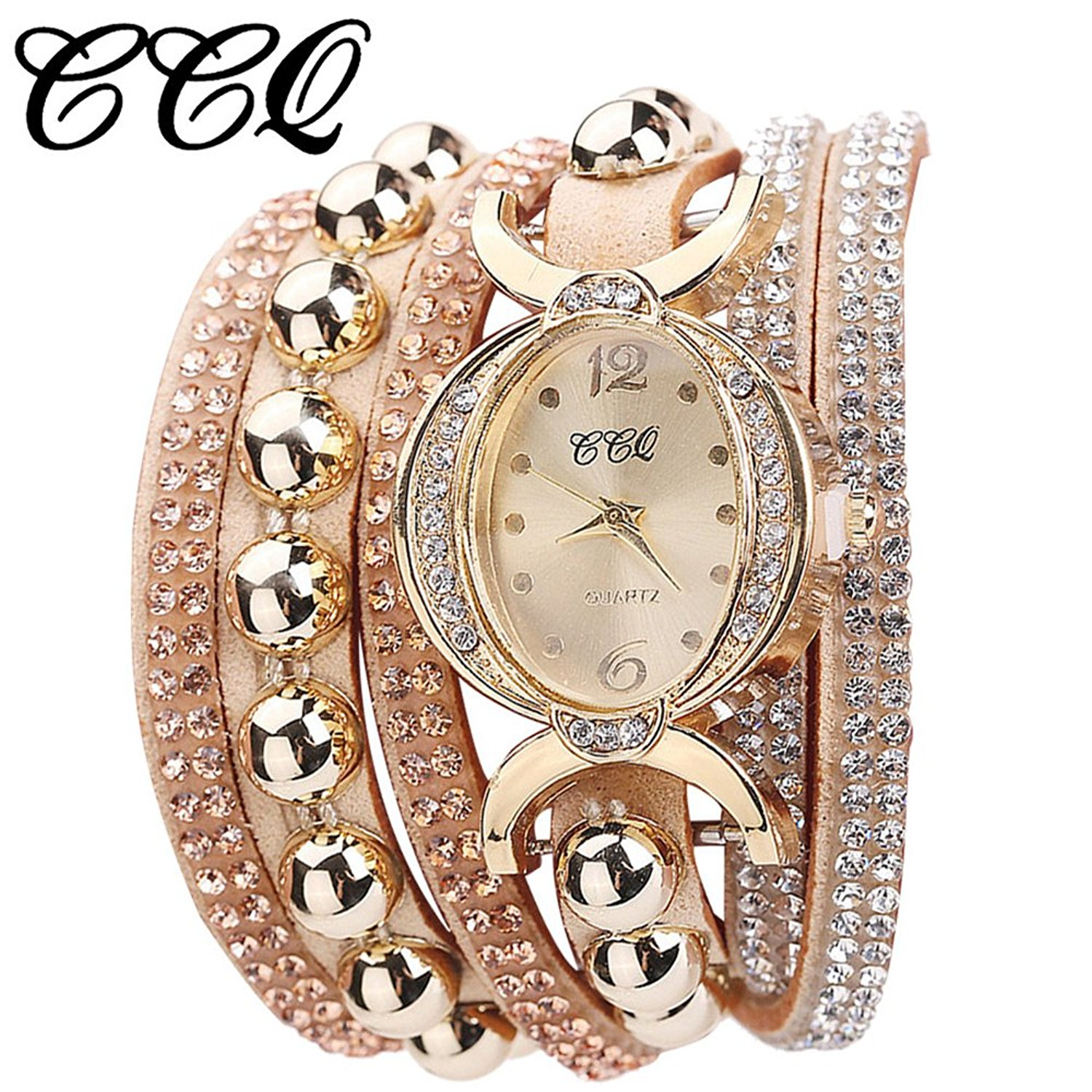 63d8fe8774e9f Get Quotations · Womens Bracelet Watches COOKI Lady s Girl s Fashion  Rhinestone Beaded Charm Layer Quartz Bracelet Watches on Sale
