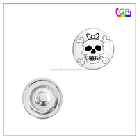 Vintage silver sugar skull snap button charms for snap bracelets