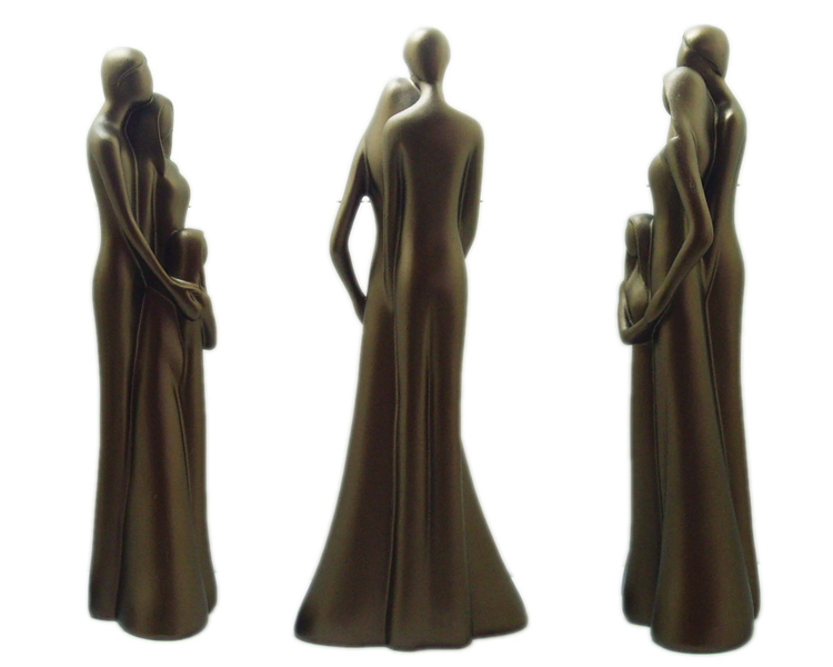OEM ODM resin electroplate family statue figurines of three