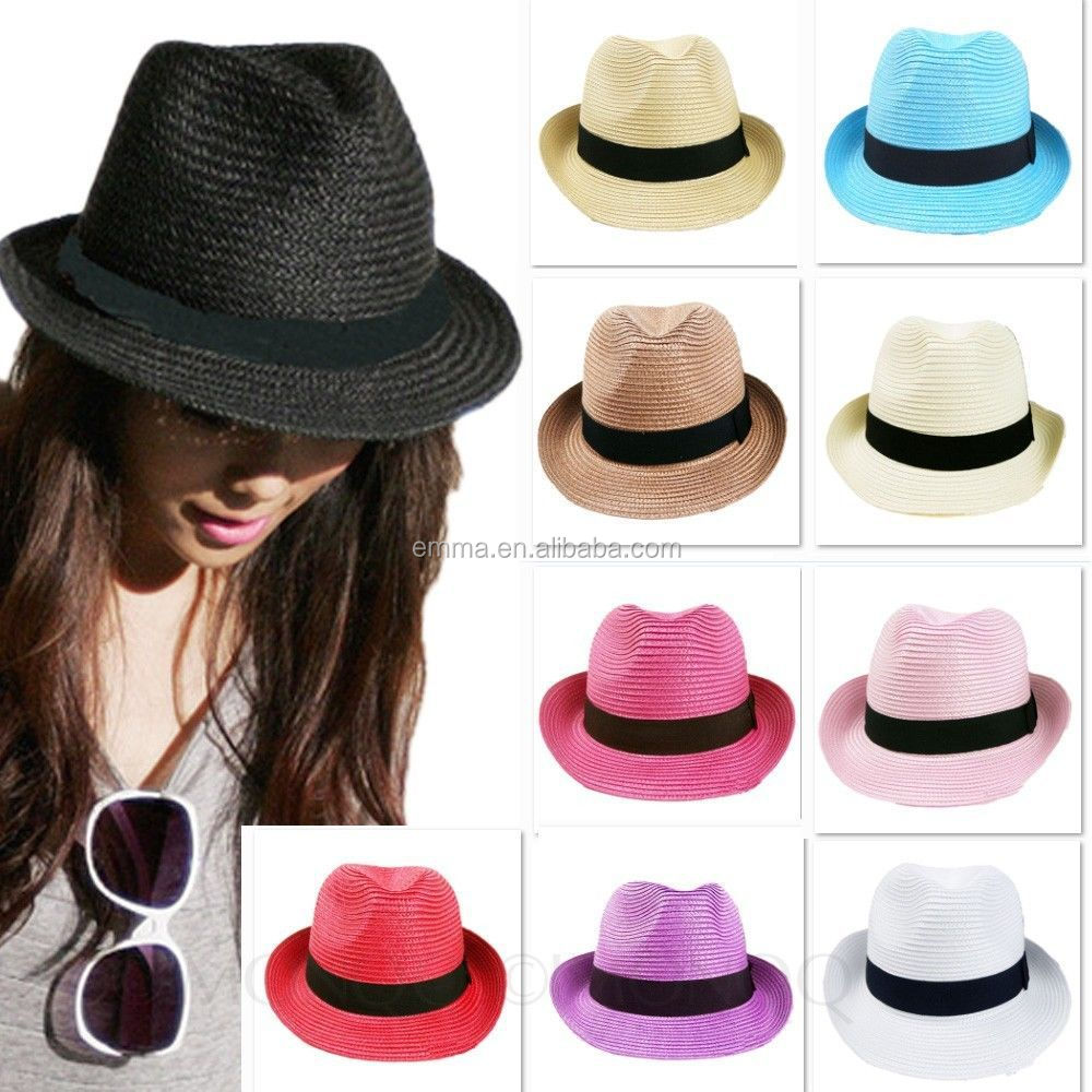 Mens ladies packable summer panama straw fedora hat with black band HT2860 635c58cd400