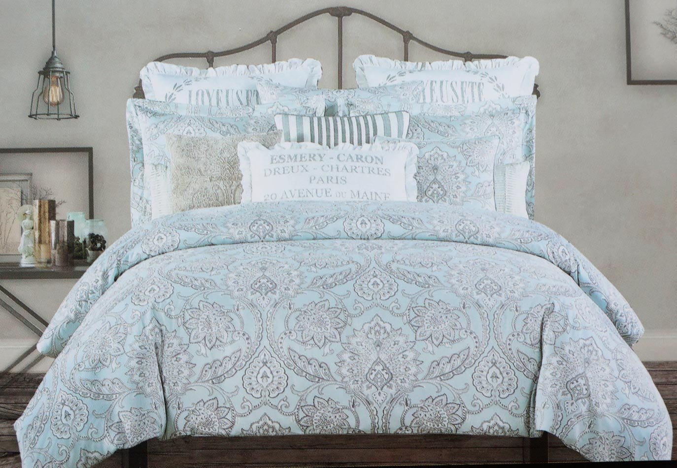 Tahari Bedding 3 Piece Full / Queen Duvet Cover Set Jacobean Floral Vines Pattern in Shades of Gray and White on Light Blue