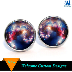 China supplier cheap silver round custom printed pictures glass earring