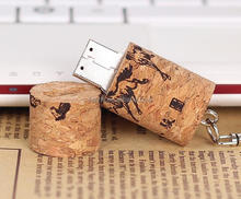8GB-64GB USB 2.0 3.0 Wooden red wine Cork DIY Custom Logo For Company Gift Photograph Studio