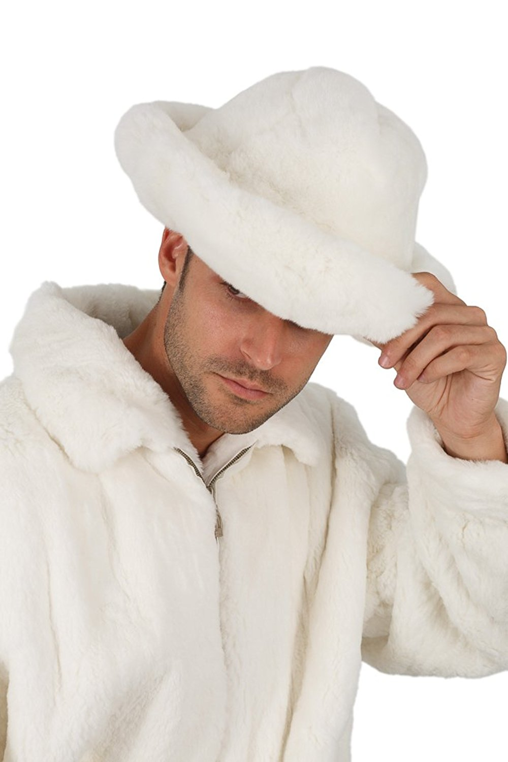 Madison Avenue Mall Real Genuine Rex Rabbit Fur Hat For Men Natural White Fedora