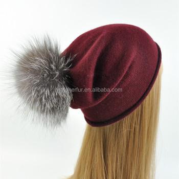 Custom Women Real Fur Ball Hat with Detachable Fur Pom Pom Soft Beanie  Winter Hat 0db368e2f