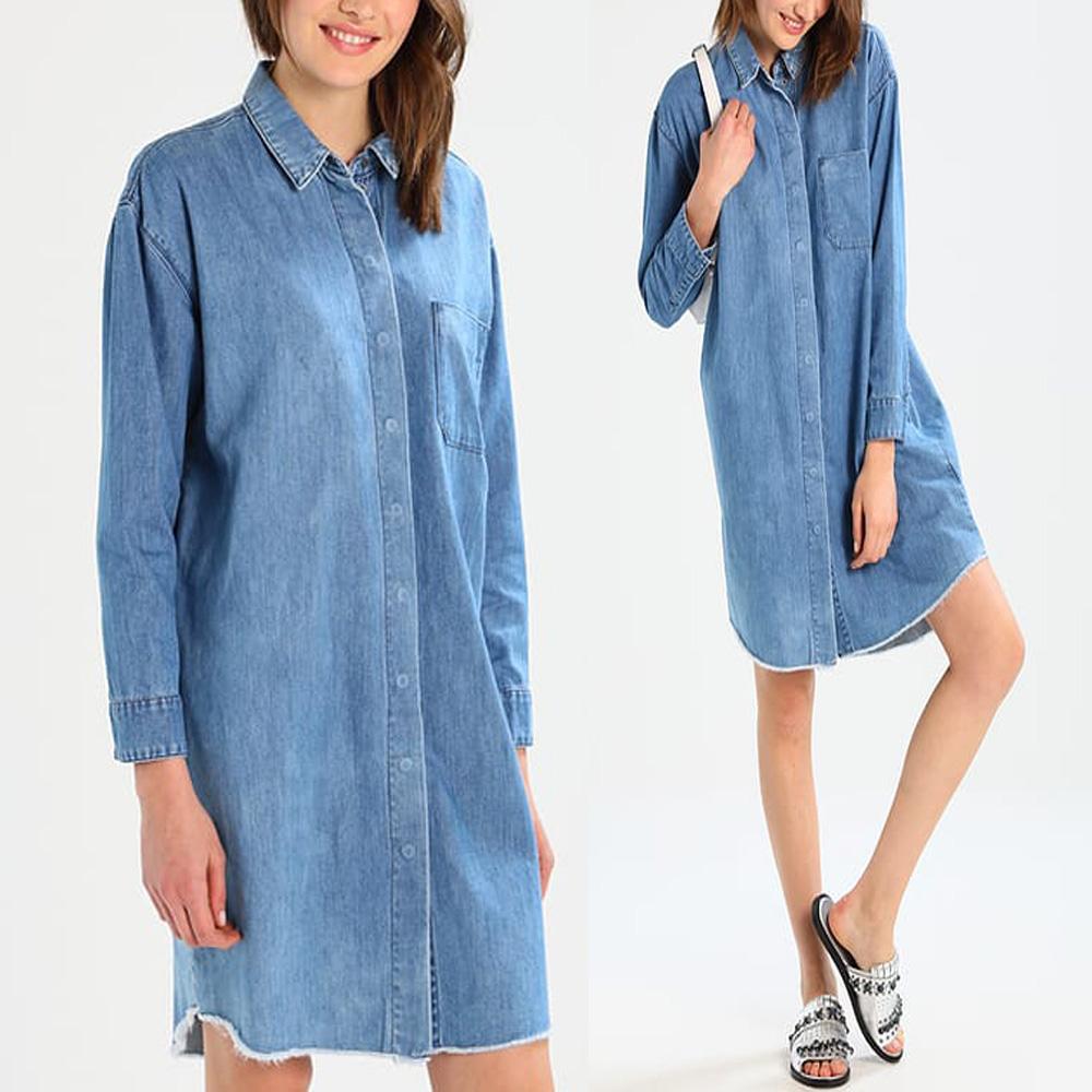 womens oversized denim long sleeve button down shirt dress ...