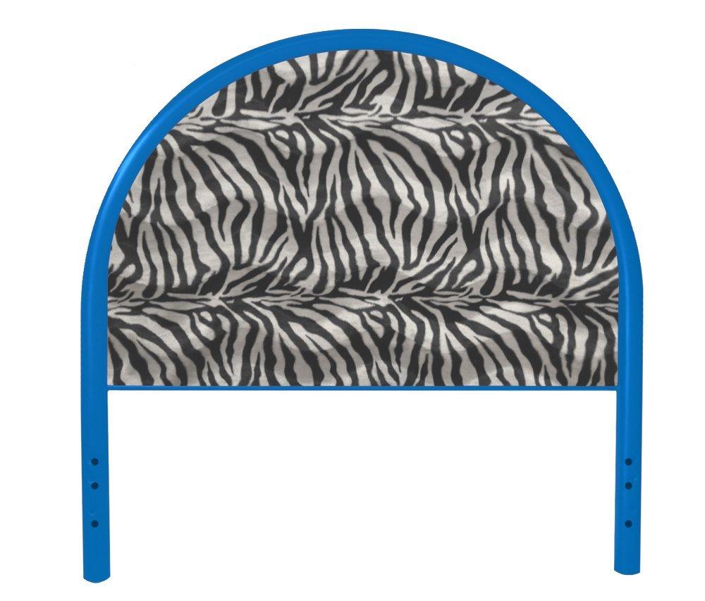 The Furniture Cove New Twin Size Children's Youth Blue Metal Headboard with Custom Zebra Faux Fur Upholstered Headboard