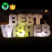 New Year Decoration Giant Inflatable Letters Replica Best Wishes Letter With LED Light Inflatable Model A1076