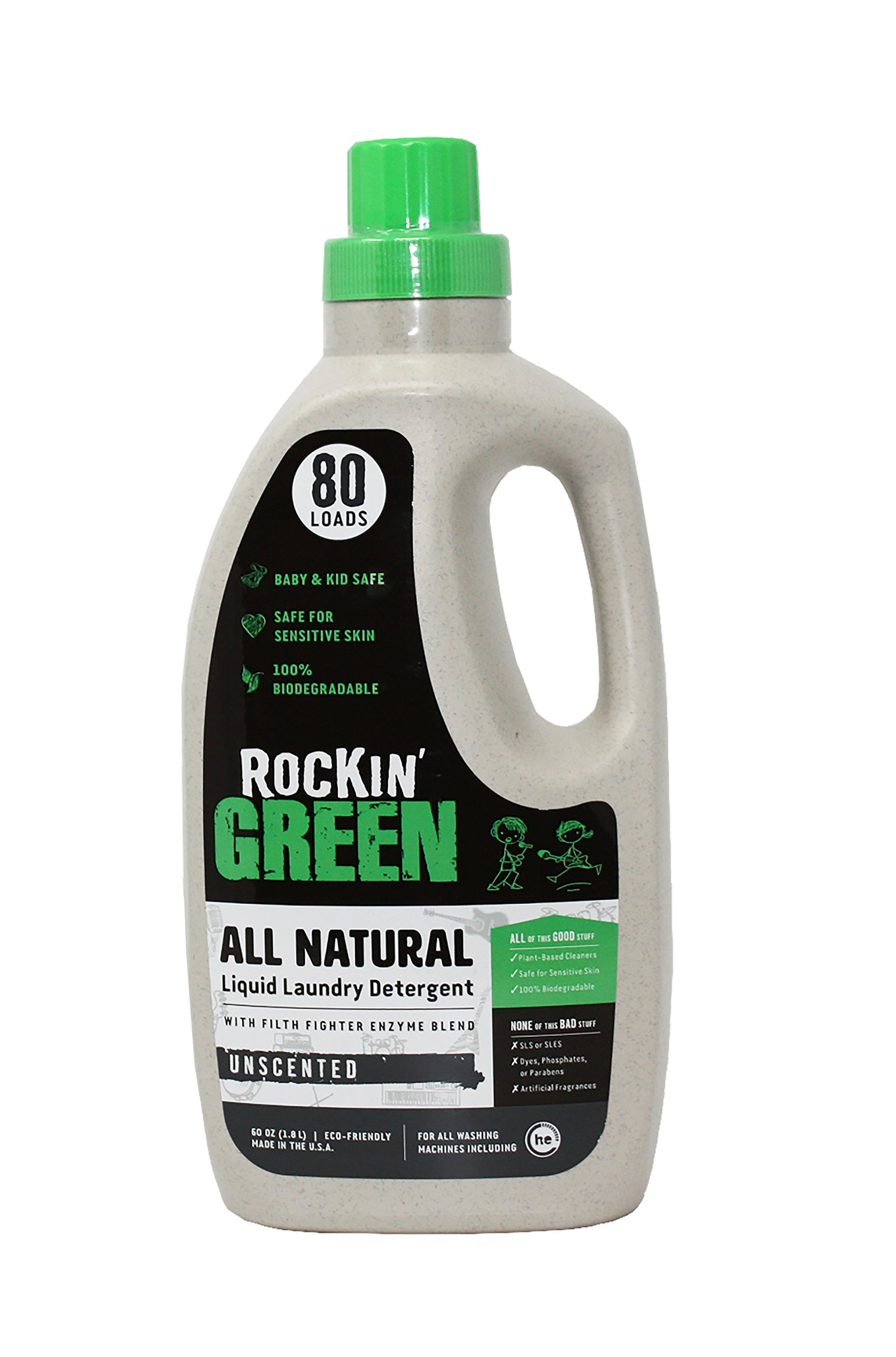 Natural Liquid Laundry Detergent by Rockin' Green, Gentle Yet Powerful Laundry Soap, HE Rated - Up to 80 Loads Per Bottle, Unscented (60 oz)