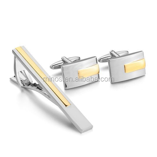 Wholesale Gold Tone Custom Cufflink And Tie Clip Sets ,Best Selling Cufflink And Tie Clips