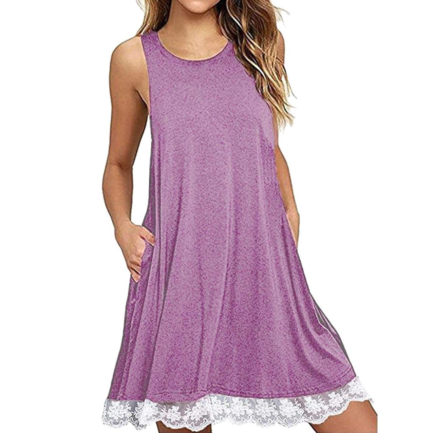 Women Dress,Hot Sale!Leedford Womens Summer Casual O Neck Sleeveless Mini Above Knee Loose Vest Dresses with Hem Lace