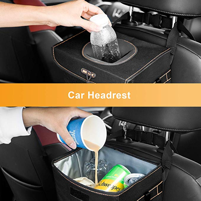 Portable 100% Leak-Proof Car Trash Can Outdoor with Lid, Car Trash Bag Hanging for Headrest with 3 Storage Pockets