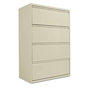 Four-Drawer Lateral File Cabinet, 36w x 19-1/4d x 53-1/4h, Putty, Sold as 1 Each