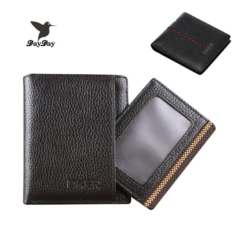 Guaranteed 100% pure genuine leather men wallet solid purses for men cowhide mini wallets black and brown