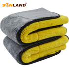 Sunland 1000 gsm Cheap Absorbent Plush Fast Drying Microfiber Towel Car Cleaning Wash Towel