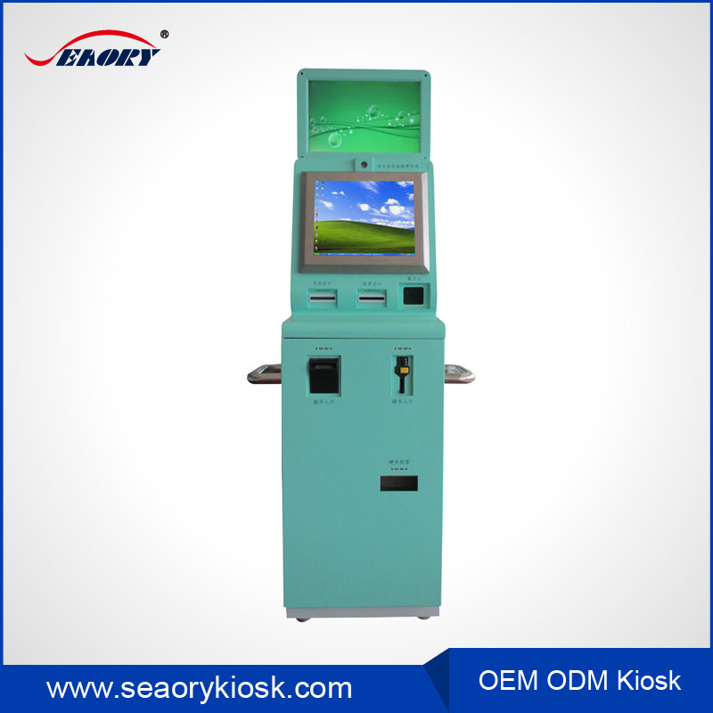 Payment Kiosk With Dual Touch Screen Cash Coin Bill Credit Card Payment optional