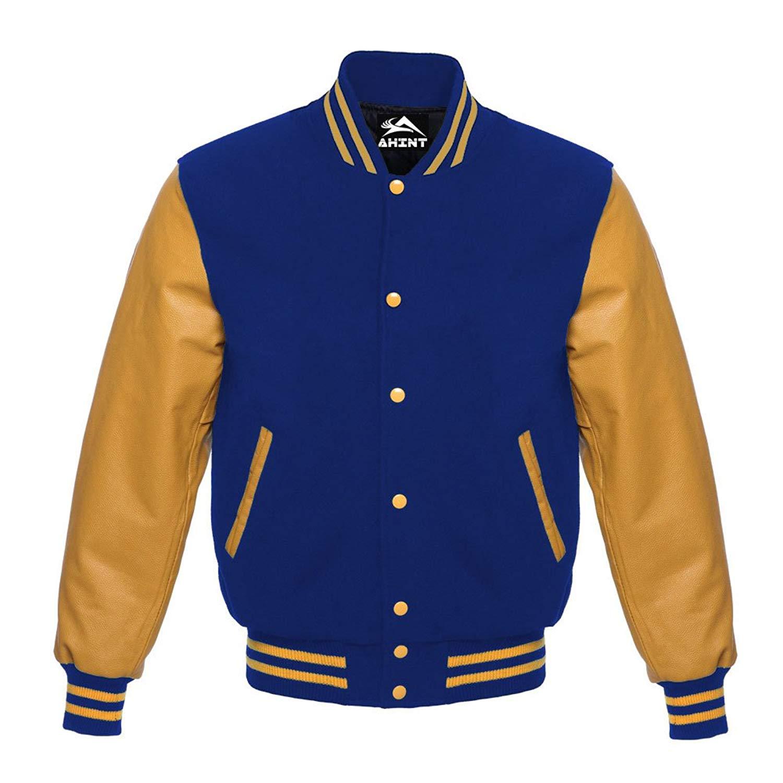 29d73bbe737 AHINT Letterman Jacket Varsity Jacket Baseball Jacket Gold Leather Sleeve  Royal Blue Wool
