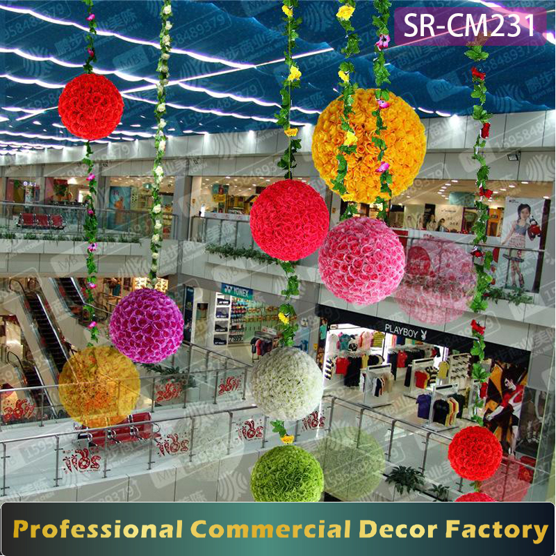 Custom shopping mall atrium hanging flower ball decoration for spring Valentine day