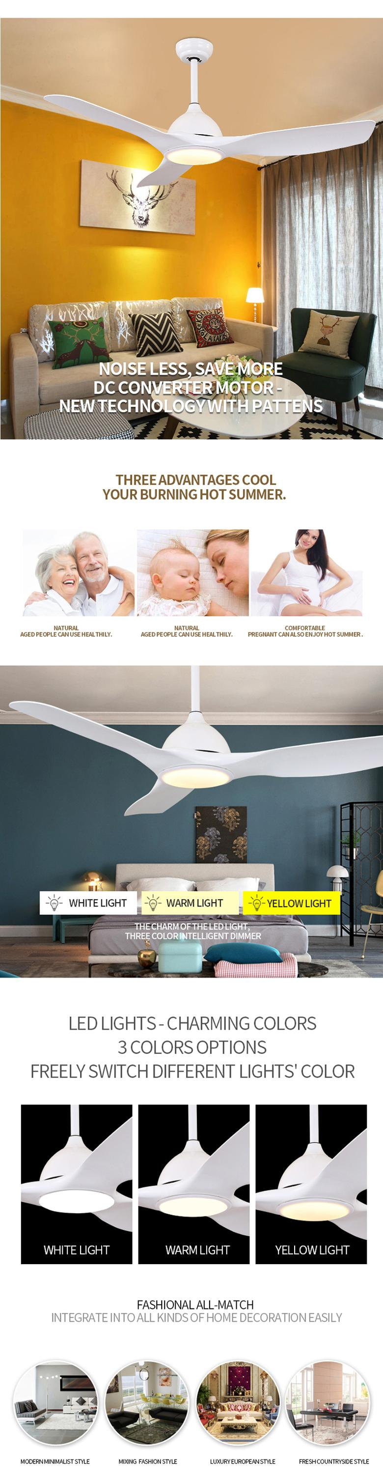 Factory Wholesale Multifunction 3 ABS Blades Ceiling Fan with Light