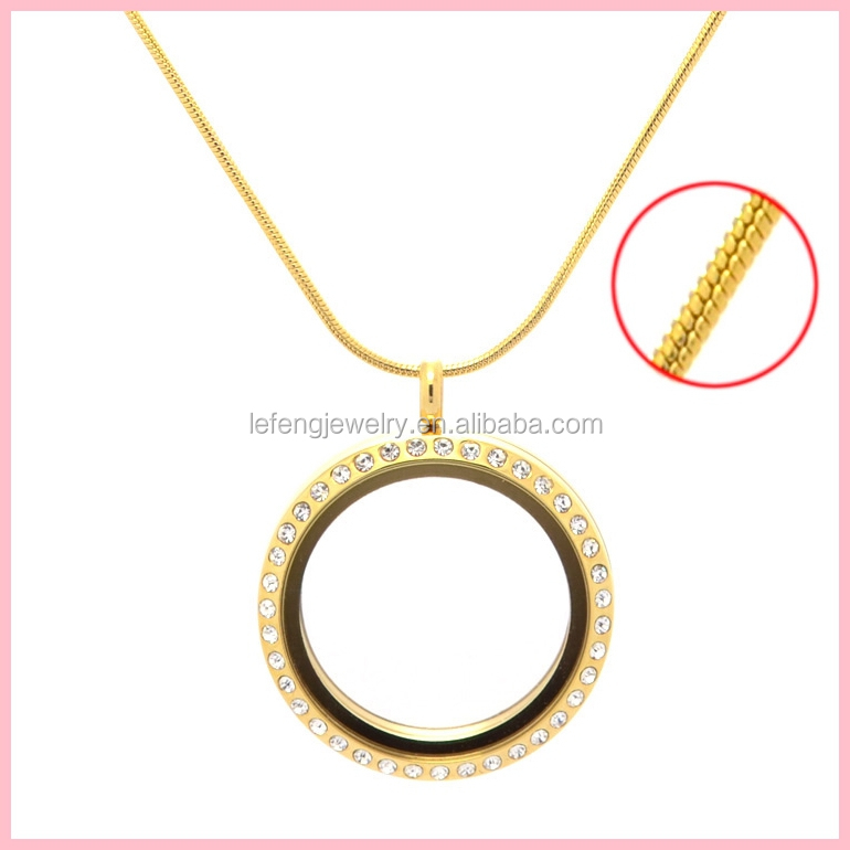 New Stainless Steel Floating Locket Latest Gold Long Chain ...