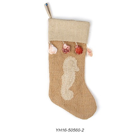 Custom sea stars linen jute christmas stocking decorations with shell