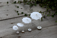 4pcs Mini White Parasol/ Sunshade/ Umbrella garden decoration decoration garden chinese garden decoration