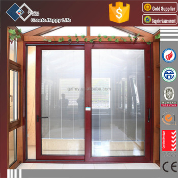 Aluminum Glass Sliding And Lifting Door With Built In Blinds Parlor
