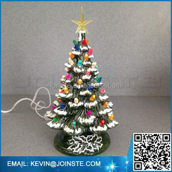 lighted ceramic christmas tree 11 inches tall the traditional holiday light decoration green glaze
