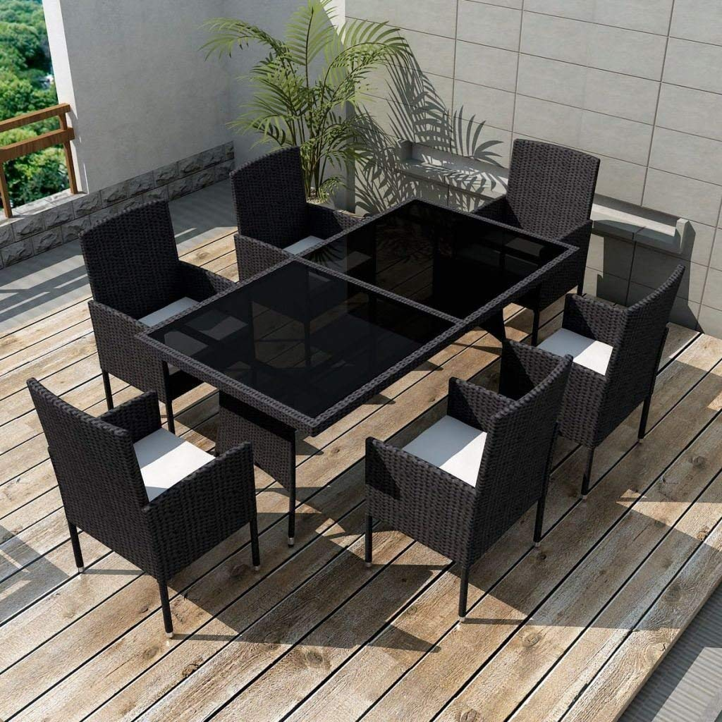Get Quotations Patio Chairs Swings Benches New Seater 6 Chair Table Outdoor Dining Set Poly Rattan