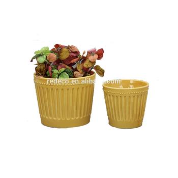 Orange Ceramic Indoor Flower Plant Pots